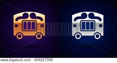 Gold And Silver Circus Wagon Icon Isolated On Black Background. Circus Trailer, Wagon Wheel. Vector