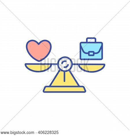 Work Life Balance Rgb Color Icon. Harmony Between Job And Family. Metaphor For Career And Lifestyle