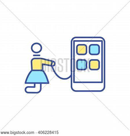 Smartphone Addiction Rgb Color Icon. Mobile Phone Dependence. Digital Detox. Internet Addiction. Soc