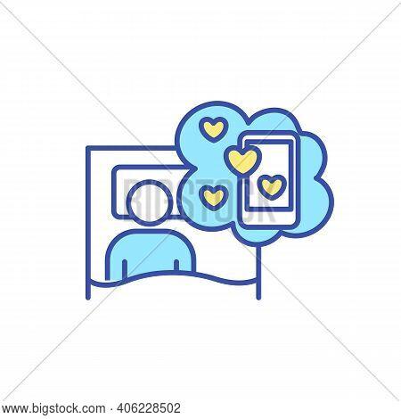 Social Media Addiction Rgb Color Icon. Smartphone Detox. Overcome Cellphone Addiction. Man Lay In Be