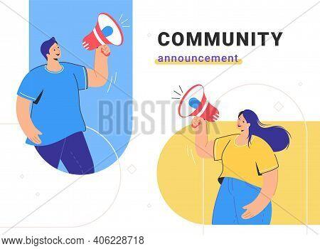 Social Media Community Announcement And Internet Marketing Loudspeaker Promotion. Flat Line Vector I