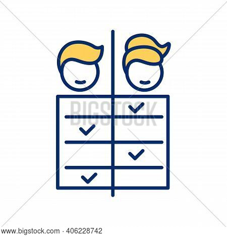 Work Division For Men And Women Rgb Color Icon. Gender Equality. Split Housework And House Chores. W