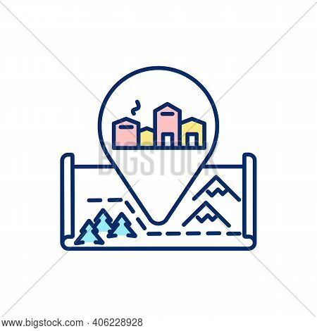 European Winter Village Rgb Color Icon. Route To Idyllic Town In Mountain. Gps Marker For Travel Des