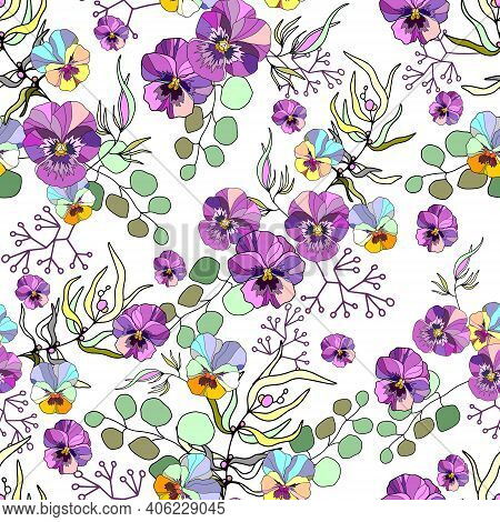 Vector Pattern With Flowers And Plants. Watercolor Floral Illustration. Seamless Pattern. Isolated O