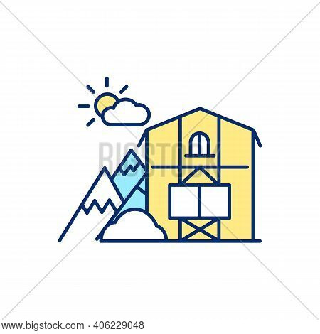 Mountain Chalet Rgb Color Icon. Rent Cabin For Winter Vacation. Weekend Getaway Ski Resort. Lodging