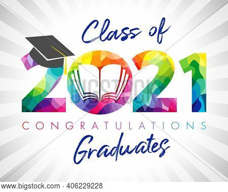 Class Of 2021 Year Graduation Banner. Class Off Holiday Colour Invitation Card. 3d Digits 20, 21 Wit