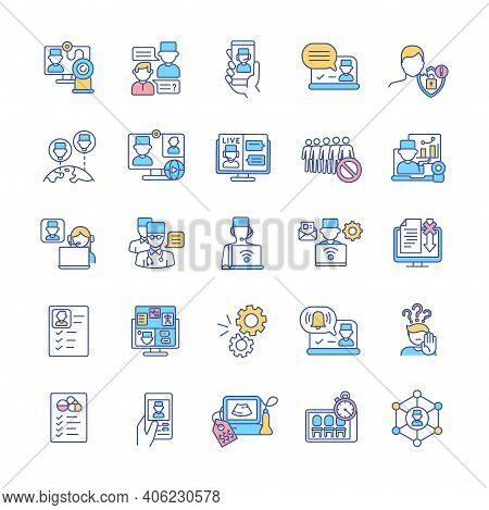 Telemedicine Rgb Color Icons Set. Telehealth Service. Online Communication With Hospital Doctor. Int