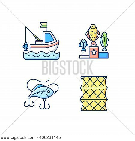 Fishing Gear Rgb Color Icons Set. Boat Fishing. Hobby And Leisure Activity. Variety Of Plastic Baits