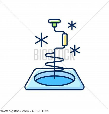 Ice Fishing Rgb Color Icon. Drill Hole Gear. Hobby And Leisure Activity. Active Rest. Fishing Tool.