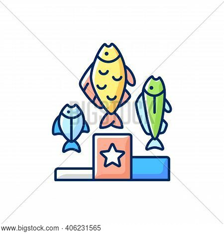 Fishing Tournament Rgb Color Icon. Sport Competition. Fishers Contest. Pedestal With Fish. Fishing T