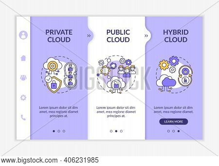 Software As Service Deployment Types Onboarding Vector Template. Private, Community, Hybrid Clouds.