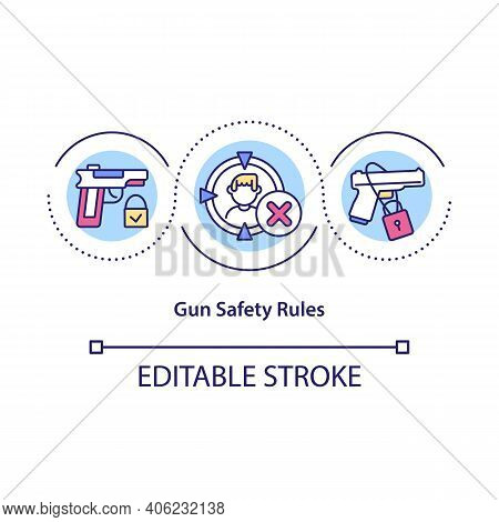Gun Safety Rules Concept Icon. Proper Storage Of Firearms Idea Thin Line Illustration. Eliminate The