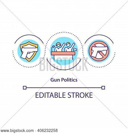 Gun Politics Concept Icon. Pros And Cons For Use Weapons In City Idea Thin Line Illustration. Smart