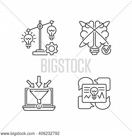 Creative Thinking Linear Icons Set. Gathering Information. Idea Prioritization. Creative Problem Sol