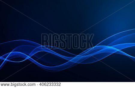 Blue Wave Design Element On Dark Background. Science Or Technology Design Blue Wave Flow