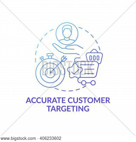 Accurate Customer Targeting Concept Icon. Open Innovation Benefit Idea Thin Line Illustration. Adver