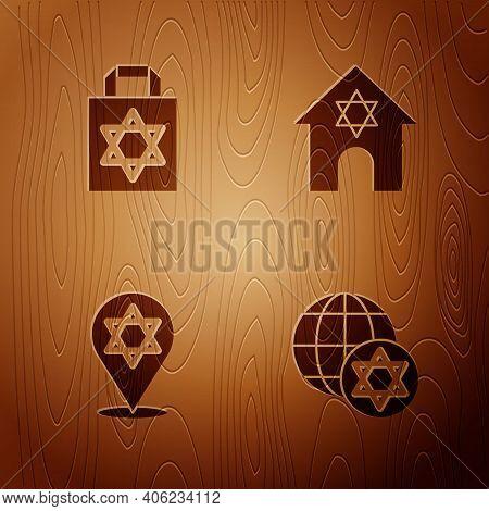 Set World Globe And Israel, Shopping Bag With Star Of David, Star David And Jewish Synagogue On Wood