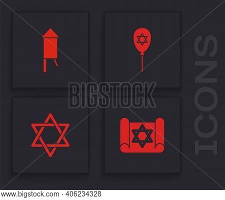 Set Torah Scroll, Firework Rocket, Balloon With Star Of David And Star David Icon. Vector