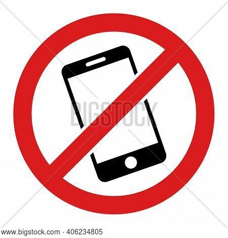 Smartphone Restricted Icon With Flat Style. Isolated Raster Smartphone Restricted Icon Image, Simple