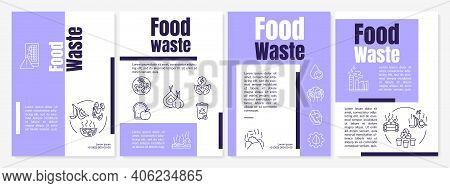 Food Waste Brochure Template. Leftovers After Visitors. Flyer, Booklet, Leaflet Print, Cover Design
