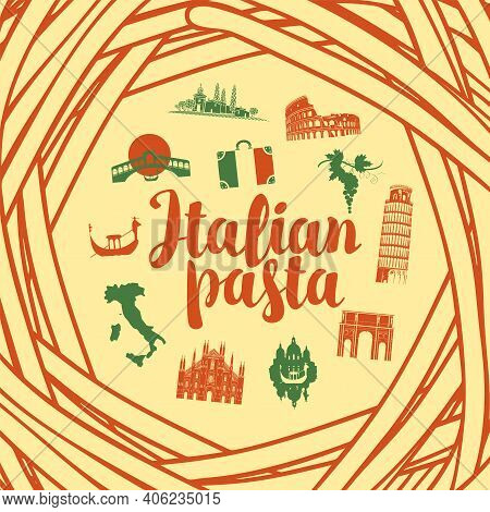 Vector Banner Or Background With Italian Landmarks In Colors Of Italian Flag On A Light Background F