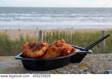 Dutch Street Seafood, Deep Fried Cod Fish Fillet With Garlic Sauce Called In Netherlands Kibbeling A
