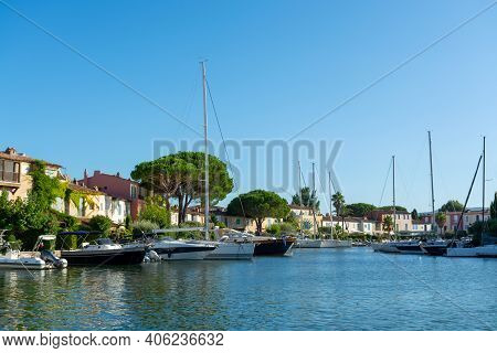 Travel And Summer Vacation Destination, View On Houses, Roofs, Canals And Boats In Port Grimaud, Var