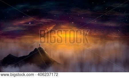 Young Man, Hiker Standing On Top Of Mountain With Misty Fog At Sunset Night Sky. 3d Rendering, Digit