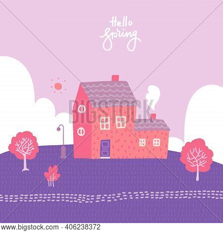 Spring Landscape With Cozy House, Fields And Nature. Romantic Blooming Background. Cute Vector Illus
