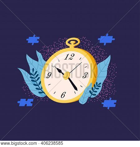 Time Management Flat Concept. Golden Clock Vector Illustration.