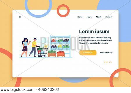 Happy Customers Buying Food In Grocery Store Isolated Flat Vector Illustration. Cartoon Shoppers Put