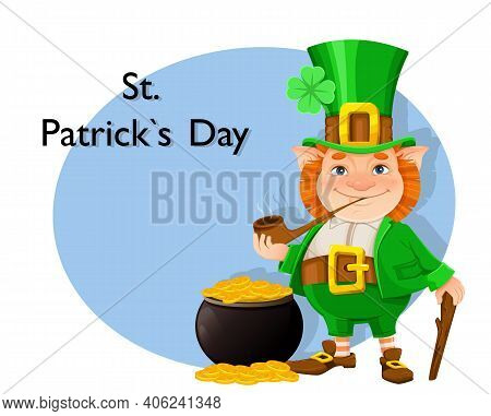 Stock Vector Leprechaun. Happy St Patrick's Day Greeting Card. Cheerful Leprechaun Cartoon Character