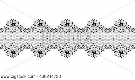 Black Floral Lace Ribbon On A White Background