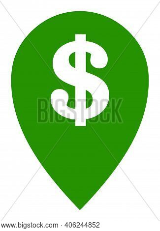 Bank Map Marker Icon With Flat Style. Isolated Vector Bank Map Marker Icon Illustrations, Simple Sty