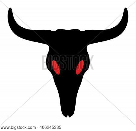 Dead Bull Head Icon With Flat Style. Isolated Vector Dead Bull Head Icon Image, Simple Style.
