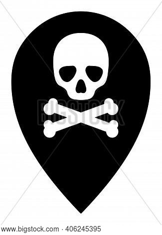 Dead Place Marker Icon With Flat Style. Isolated Vector Dead Place Marker Icon Illustrations, Simple