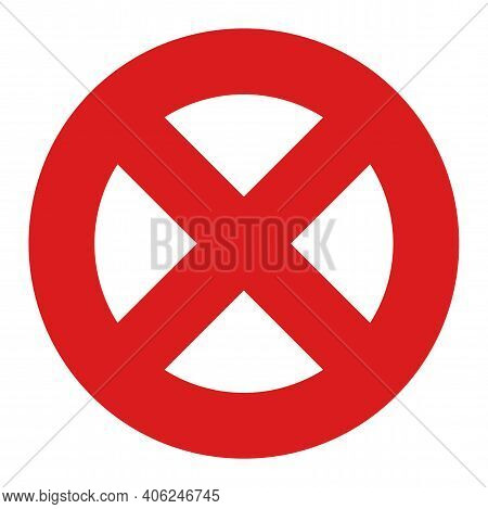 No Entry Icon With Flat Style. Isolated Vector No Entry Icon Image, Simple Style.