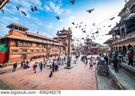 Kathmandu, Nepal - February 1 2021: Ancient Temple And Stupa At Patan Durbar Square In Nepal.