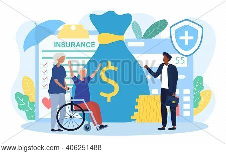 Elderly Woman Is Getting Money Compensation Recovery By Medical Healthcare Insurance. Happy Old Woma