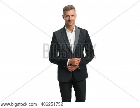 Professional Man Smile With Elegant Look Wearing Fashion Suit In Formal Style Isolated On White, For