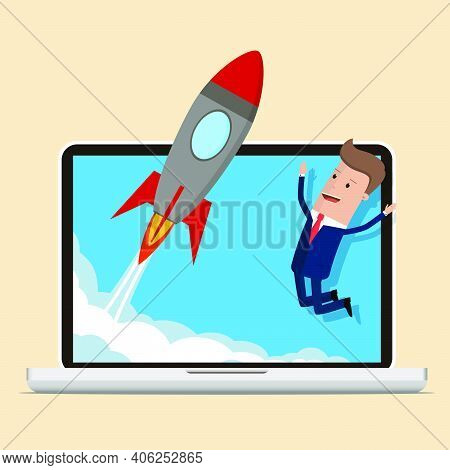 Businessman Happy Looking At Business Start Up Rocket. Businessman Working On A Business Start Up. B