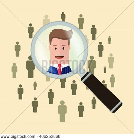 Searching For The Candidate. Man At Magnifying Glass. Magnifying Glass Searching People. Vector Illu