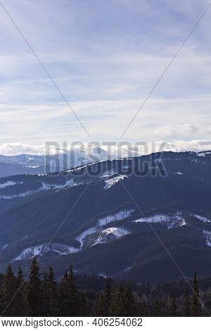 Winter Mountains, Carpathians, Ukraine. Ski Resort Bukovel . Panorama Of A Ski Resort With Ski Slope