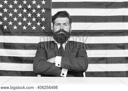 Man American Presenter Anchorman In Studio, Big Boss Concept.