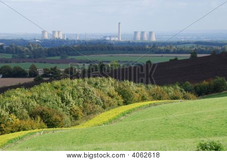 Countryside With Didcot Power Station, Oxfordshire, England