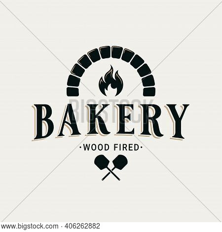 Bakery Logo With Oven Shovel. Wood Fired Bread
