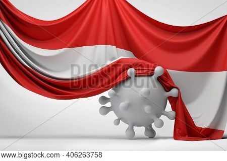 Austria National Flag Draped Over A Covid Virus Disease Molecule. 3d Rendering