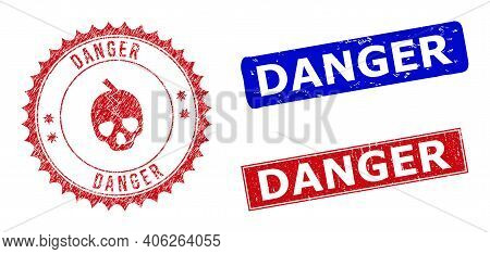 Rectangle And Round Danger Watermarks With Icon Inside. Blue And Red Grunge Seal Stamps With Danger