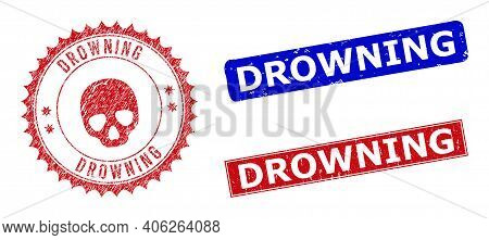 Rectangle And Round Drowning Seal Stamps With Icon Inside. Blue And Red Scratched Seal Stamps With D