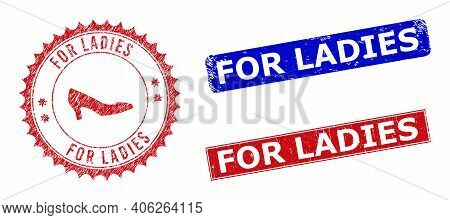 Rectangle And Round For Ladies Watermarks With Icon Inside. Blue And Red Textured Watermarks With Fo